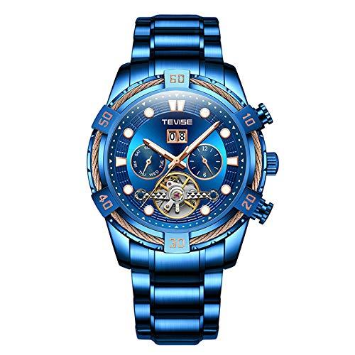QZPM Hombres Automático Mecánico Relojes De Pulsera Acero Inoxidable Impermeable Multifunción Calendario Luminosa Analógico Business Relojes,Azul