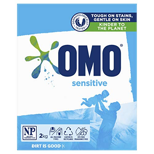 OMO Sensitive Laundry Detergent Washing Powder Front and Top Loader, 2kg (Packaging May Vary)
