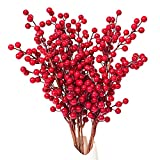 DearHouse 4 Pack Artificial Red Berry Stems Holly Christmas Berries for Festival Holiday Crafts and Home Decor, 20 Inches Burgundy Berry Floral Christmas Tree Decoration