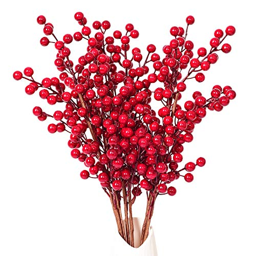 Artiflr 4 Pack Artificial Red Berry Stems Holly Christmas Berries for Festival Holiday Crafts and Home Decor, 20 Inches Burgundy Berry Floral Christmas Tree Decorations