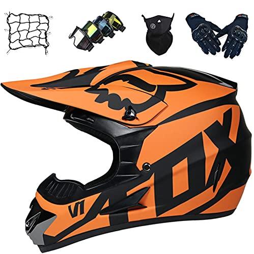 Aidasone Casco de Motocross, Casco MTB Integral Niños Set con Gafas/Guantes/Máscara/Red Bungy, Casco Choque Moto Todoterreno Adultos para Carreras Enduro Descenso - con Diseño Fox, Naranja,S