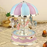 Carousel Horse Music Box |【Fast Delivery】 Kptoaz Merry-Go-Round Horse Music Box with LED Light Music Box for Carousel Gift for Girlfriend Kids Christmas Festival Birthday Valentine (Purple, one Size)