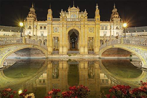 Rompecabezas Para Adultos 1000 Piezas 3D Puente Del Rio Sevilla De Madera Montaje Personalizado