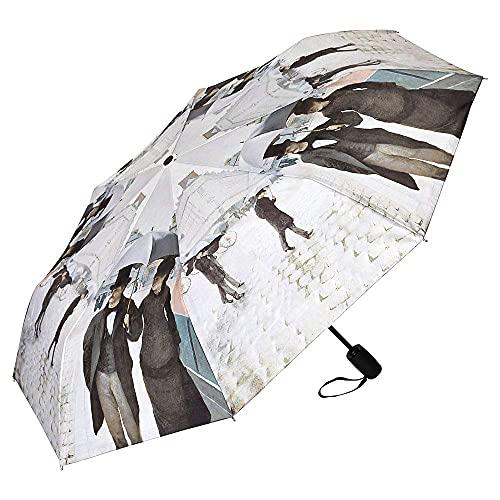 VON LILIENFELD® Parapluie de Poche Résistant au Vent Pliant Gustave Caillebotte: Paris sous la pluie Automatique Ouverture et Fermeture Légèrement Stable Arte