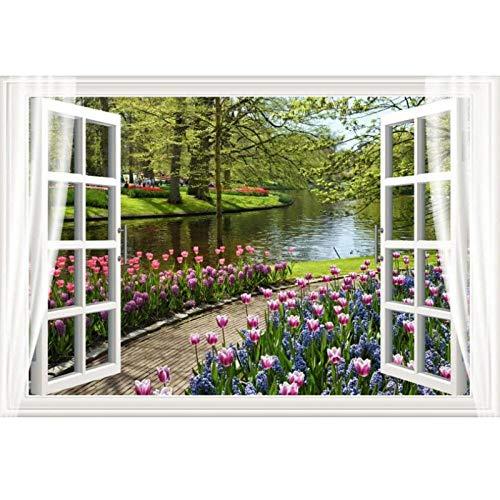 3D behang foto niet-geweven muursticker 3 d bloemen rivier uit het raam schilderij kamer behang voor muren 3D 280 cm (B) x 180 cm (H)
