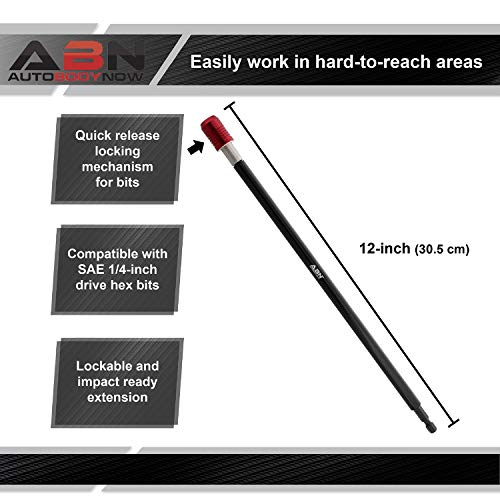ABN 1/4 Inch Drive 12 Inch Long Drill Quick Change Bit Holder Locking Bit Extension, Quick Release for Hex Impact Bits