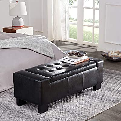 """Belleze 51"""" Rectangular Fabric Tufted Storage Faux Leather Ottoman Bench, Large Space"""