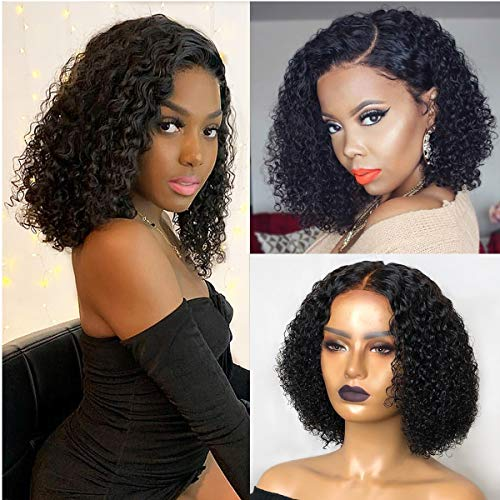 13x6 Lace Front Wigs Human Hair Wigs For Black Women 9A Short Bob Wigs Curly Brazilian Remy Hair Pre Plucked With Baby Hair (8 inch with150% Density)