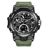 Voigoo Sport-Uhr-Mann Dual Time Wasserdicht 50M Miliatry Uhren Chrono Alarm Armbanduhr Vintage Klassische Digitaluhr