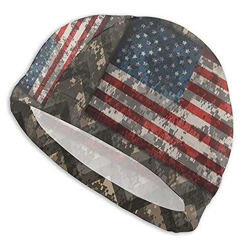 IUBBKI Gorras de natación para cabello largo digital camo patriótico Chevrons bandera fundas nórdicas sombreros de natación señoras gorras de natación mujeres hombres adultos gorro de natación