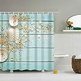 La cortina de ducha es impermeable, a prueba de moho, baño, cortinas lavables, elegante diseño con estampado de delfines,