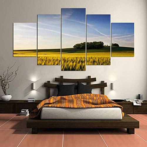 Afdrukken Op Canvas Afbeeldingen In Hd Gedrukt Thuis Woonkamer Wanddecoratie Olieverfschilderij Tarwe Plant Landschap Canvas Schilderij(Frameloos)