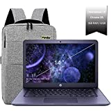 "2020 HP 14"" Lightweight Chromebook AMD A4-Series Processor, 4GB RAM, 32GB eMMC Storage, Webcam, WiFi, Chrome OS (Google Classroom or Zoom Compatible) Navy/Legendary Accessories"