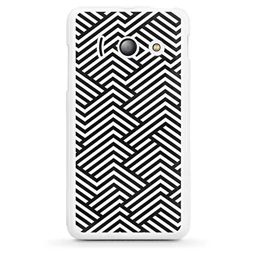Silikon Hülle kompatibel mit Huawei Ascend Y300 Case weiß Handyhülle Streifen Dreiecke Muster