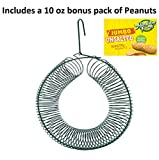 Naturesroom Peanut Bird Feeder or Squirrel Feeder for Whole Peanut and Suet Wreath Style Feeder with Bonus Pack of Unsalted Hampton Farms Peanuts.