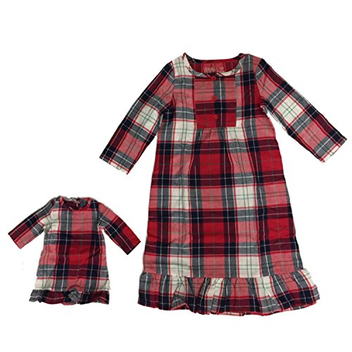Toddler Girls Red Plaid Christmas Holiday Nightgown & Baby Doll Gown Set 3T