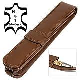 ONLINE Leder-Etui Classic für einen Stift, Kugelschreiber-Etui, für Schreibgeräte aller Marken, Echtleder, Geschenkidee für jeden Anlass, 14,5 x 2,5 x 2,5 cm, braun, für 1 Schreibgerät