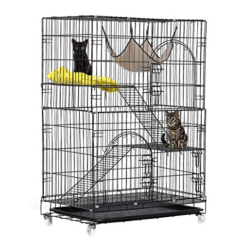 TOOCA 3-Tier Cat Cage, Cat Playpen Kennel Crate Chinchilla Rat Box Cage Enclosure with Ladders, Platforms Beds, Latches Tray Hammock