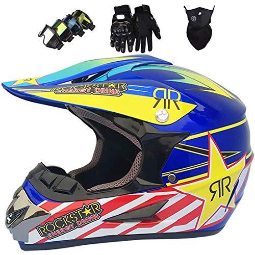 Casco de motocross para niños, Casco choque ATV motocicleta todoterreno MTB cara completa para adultos con máscara guantes gafas, Equipo protector de casco de choque todoterreno, Certificación ECE