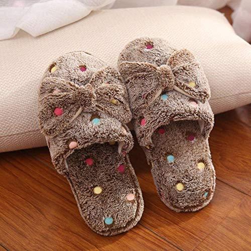 Zapatillas de algodón para mujer, cálidas para invierno, antideslizantes, para el hogar, dormitorio, 7,5 de ancho, color marrón