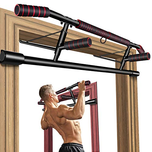 Foldable Pull Up Bar for Doorway, No Screw Chin Up Bar for Home Workout, Training Equipment for Men, Ergonomic Design Hand Bar with Anti-slip NBR Foam Covered, Bonus Wrist Straps, Fits Most of Doors