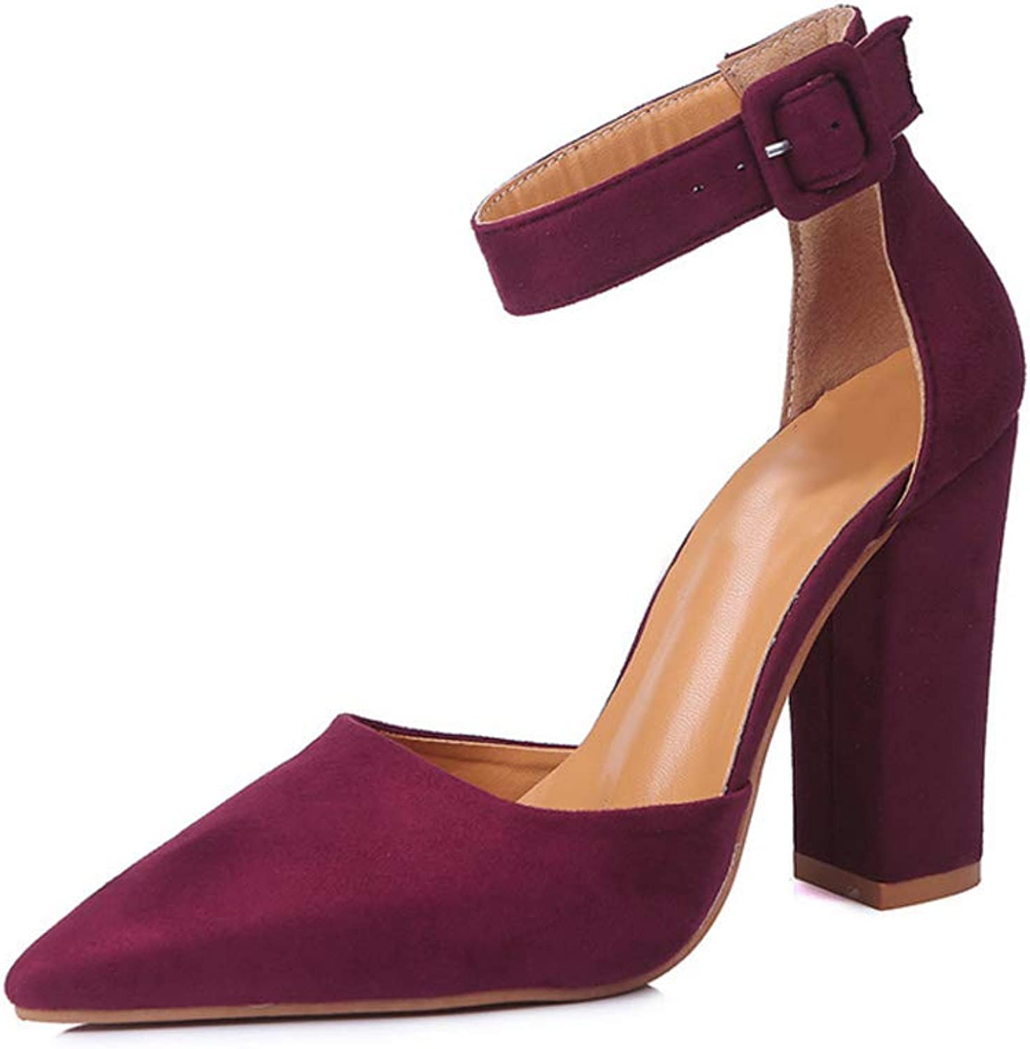 Aiweijia Ladies shoes Casual Pointed Toe Ankle Buckle Thicken High Heel shoes