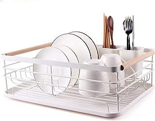Large Capacity Dish Storage Rack, Dish Drainer Dinnerware Organizer with Drain Board,White