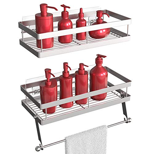 Vdomus shower shelves for tile walls with towel holder, 2 in 1 adhesive shower caddy and kitchen spice racks with paper towel holder, Made by durable stainless steel, 2 packs