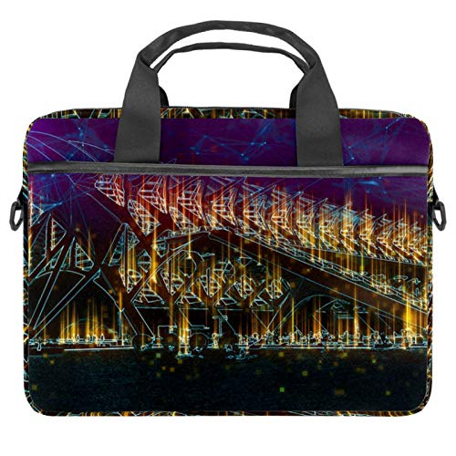 Protective Carry Case Luxury Computer Briefcase Suitable for 13.4'-14.5' Laptop with Display Sunset City of Arts
