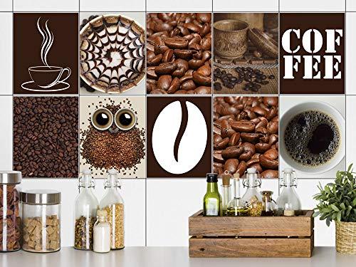 GRAZDesign Fliesenaufkleber Küche 15x20cm Kaffee Tasse, Fliesensticker Fliesen zum Aufkleben Klebefolie für Küchenfliesen/Set 10 Stück