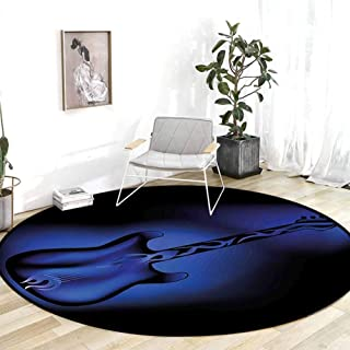 Kitchen Rugs and mats Music Electric Guitar Bass in Dark Tones Rock and Roll Pop Themed Oldies Instrument Design Navy Blue Room Carpet 3'Round