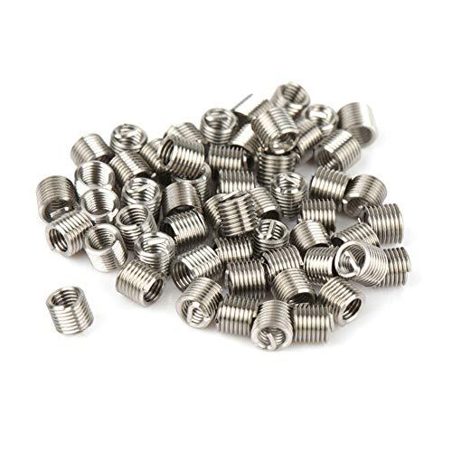 Inserto de reparación de roscas, 50 piezas M2.5 x 2D Insertos de alambre en espiral de acero inoxidable con rosca helicoidal con herramienta de instalación M2.5, Macho dedicado ST2.5, Rompe espigas, B