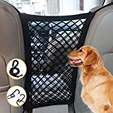 Dog Car Net Barrier, Metal Hooks & Stretchable Mesh Obstacle, Auto Seat Net Organizer, 5 FT Strong Dog Leash with Comfortable Padded Handle and Reflective Threads, Drive Safely with Children & Pets