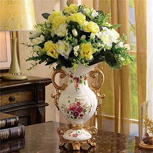 Vases Cerámica para centros de mesa, decoración de flores, centro de mesa, dormitorio, oficina, hotel, decoración del hogar, pintada a mano, alta decoración (color: A) (color: A)