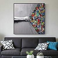 ストリートアートペインティングハンドプルカーテンラージウォールプリントウォールアートポスターグラフィティウォールアート写真ルームデコレーション60x60cm(24x24in)フレーム付き