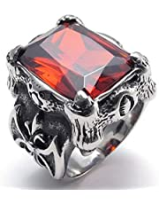Stainless Steel Red Crystal Dragon Claw Men's Ring