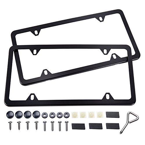Ohuhu Black License Plate Frames, 4 Hole Matte Aluminum 2 PCS Slim License Plate Frame with Screws Caps