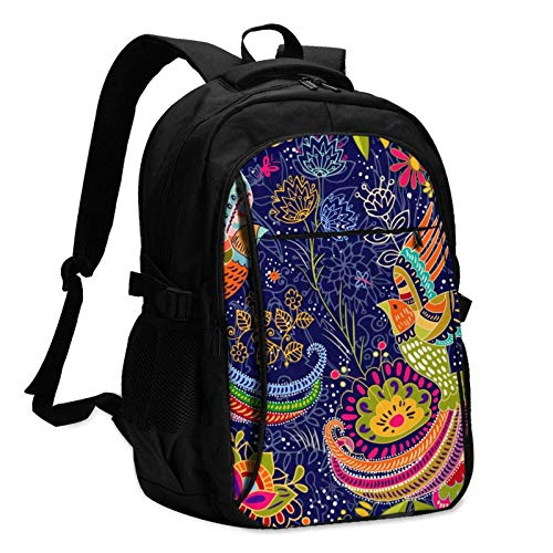 XCNGG Colorful Cartoon Bird Travel Laptop Backpack with USB Charging Port Multifunction Work School Bag