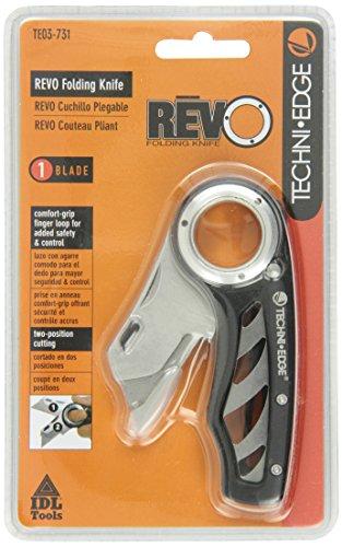 Techni Edge 03-731 REVO Folding Utility Knife (Black or Gray, Color...