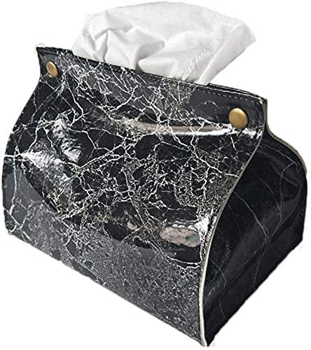 SXCDD Caja de pañol Patrón de mármol Cuadro de Tejido PU Cuero de PU Casa Servilleta Papel Papel Papel Toalla Toalla Equipo Pouch Decoración para el hogar, Dispensador Negro