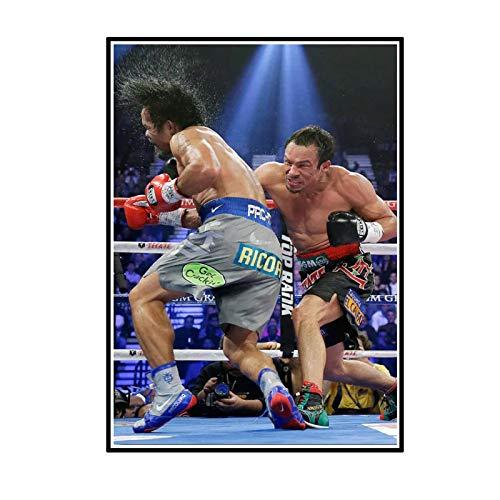 ADNHWAN Manny Pacquiao Vs Juan Manuel Márquez Póster de Boxeo e Impresiones Arte de la Pared Pintura en Lienzo para la decoración de la Pared del hogar -50x70cm Sin Marco 1 Uds