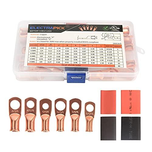 electrapick 40pcs Cosses à sertir de batterie pour câble de 6-25mm² Cosse tubulaire à souder en cuivre et 40pcs Gaine thermorétractable