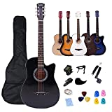 Rosefinch ギター Guitar アコースティックギター 38インチ フォークギター acoustic guitar バスウッド 入門 初心者向け 11点セット 収納バッグ&ストリング&カポタスト&ピック&ストラップ&チューナーなど付き 【検品後発送で安心】(ブラック)