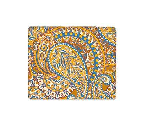 Brp-Mauspad, rechteckige Mausmatte, süßes Mauspad mit Design, rutschfestes Mauspad auf Gummibasis mit genähter indischer Paisley-Blumenlilie-Gänseblümchen-Jasmin-Kamelien-Stechpalme