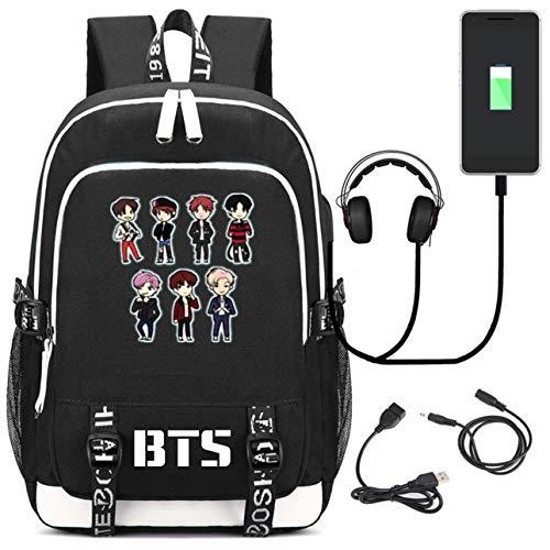 JUSTGOGO KPOP BTS Bangtan Mochila para niños, mochila para computadora portátil, bolsa de escuela, bolsa para libros con puerto de carga USB