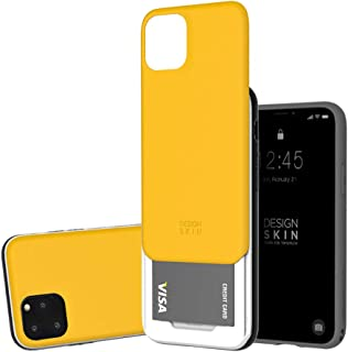 Design Skin Sliding Card Holder Case, Heavy Duty Bumper Protection Wallet Cover with Storage Slot Slider for Apple iPhone 11 Pro - Yellow