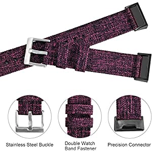 hooroor Woven Fabric Breathable Replacement Bands Compatible for Fitbit Charge 3 and Charge 3 SE Fitness Activity Tracker, Soft Accessory Sports Band Wristbands Strap Women Men (Purple Cloth, Small)