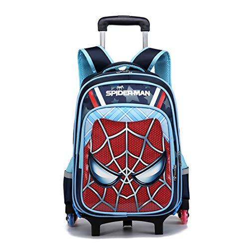 MODRYER Borsa Kid Spiderman Zaino elementare Studenti Zaino duplice Uso Ruote School Children Trolley Pack per 6-12 Anni,6 Wheels-L/44 * 33 * 22cm