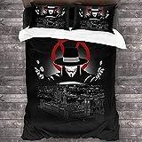 SUNGOUKO V for Vendetta - Juego de ropa de cama, 3 piezas, juego de funda nórdica, suave y agradable al tacto, sin irritación, para niñas y niños (Vendetta 3,200 x 200 cm + 50 x 75 cm x 2)