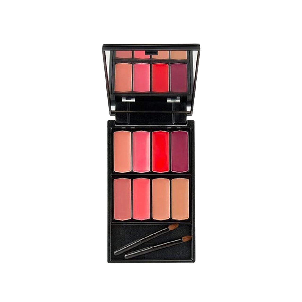 行進適用する平凡Homyl 8色入 口紅パレット リップグロス メイクアップパレット 唇メイク カラーメイク 化粧鏡 ミラー メイクアップブラシ 便利  - #2